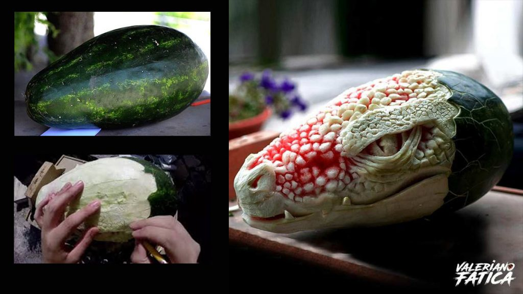 голова крокодила из арбуза