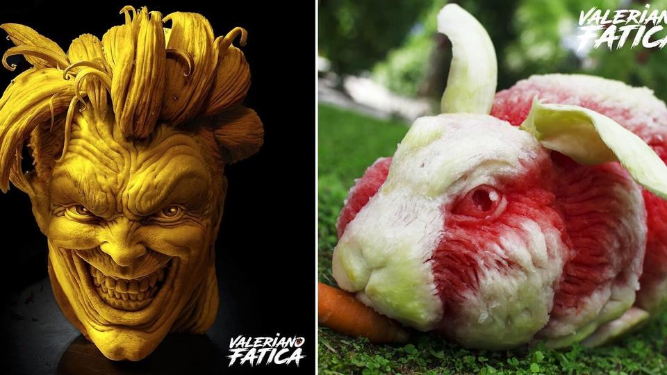 человеческая голова из тыквы и кролик из арбуза