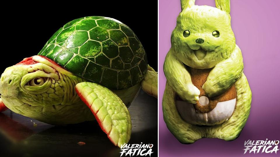 Морская черепаха из арбуза и Кролик из кабачка